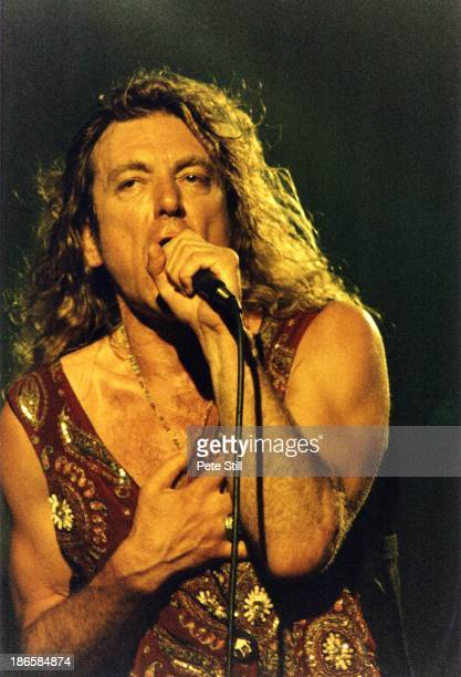 Robert Plant of Led Zeppelin performs on stage at Brixton Academy during his 'Fate Of Nations' solo tour on July 16th 1993 in London England