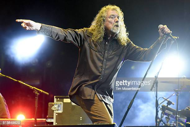 Robert Plant of Robert Plant and the Sensational Space Shifters performs during the Okeechobee Music Arts Festival on March 4 2016 in Okeechobee...
