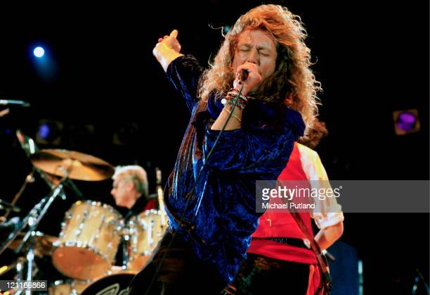 Robert Plant performing with Queen at the Freddie Mercury Tribute Concert for AIDS Awareness at Wembley Stadium London April 20th 1992
