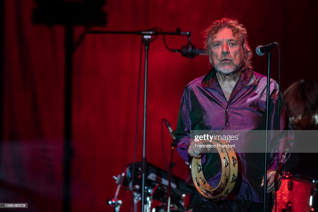 Robert Plant performs on stage at Ippodromo San Siro on July 27, 2018 in Milan, Italy.