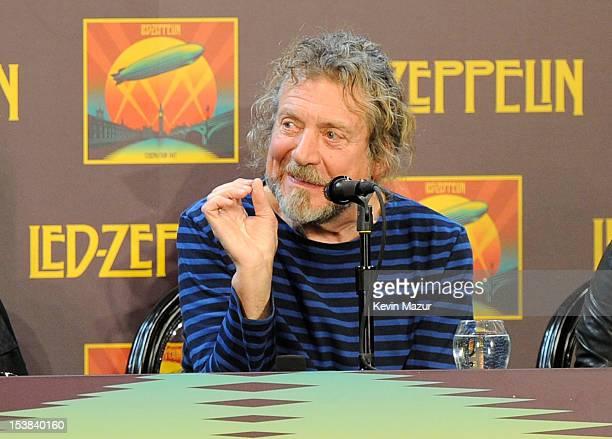 Robert Plant speaks at the Led Zeppelin Celebration Day Press Conference on October 9 2012 in New York City Led Zeppelin's John Paul Jones Jimmy Page...