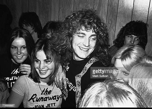 Robert Plant with The Runaways in dressing room after their show at The Starwood Hollywood CA 1976 Various Locations Mark Sullivan 70's Rock Archive