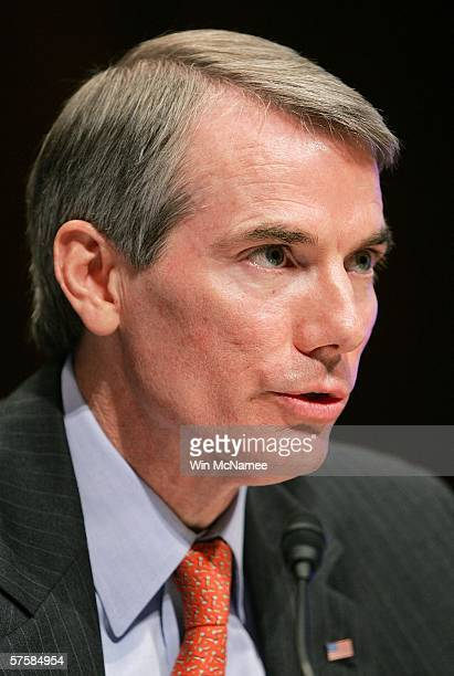 Robert Portman the nominee for the position of director of the Office of Management and Budget testifies during his confirmation hearing on Capitol...