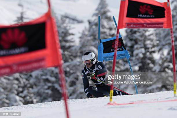 Robert Poth of Great Britain in action during the Audi FIS Alpine Ski World Cup Team Parallel Slalom on March 19, 2021 in Lenzerheide, Switzerland.