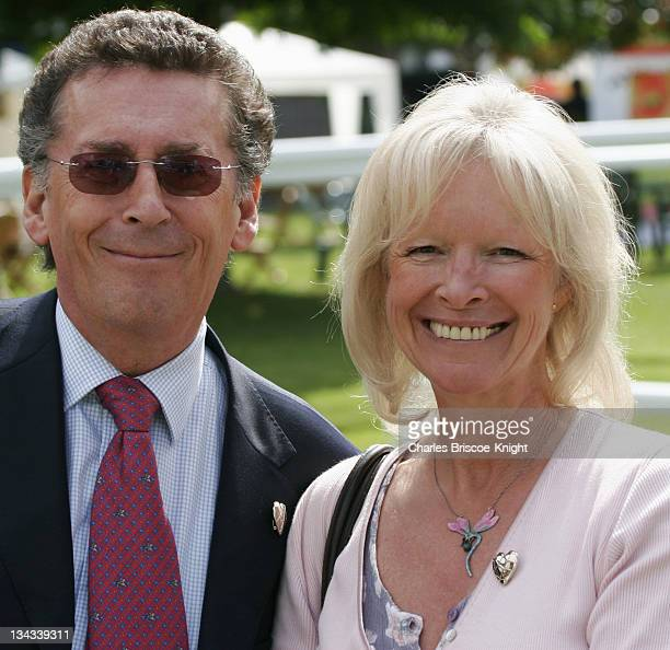 Robert Powell and wife Babs during Variety Club Racing Day August 20 2005 at Sandown Park in Esher Surrey Great Britain