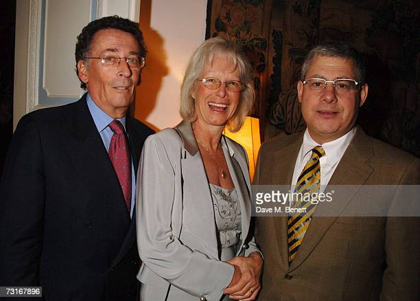 Robert Powell with wife Babs and Cameron Macintosh attend a party celebrating Antonio Carluccio receiving an OBE at The Italian Embassy on January 31...