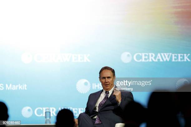 Robert Powelson nominee to be a member of the Federal Energy Regulatory Commission speaks during the 2018 CERAWeek by IHS Markit conference in...