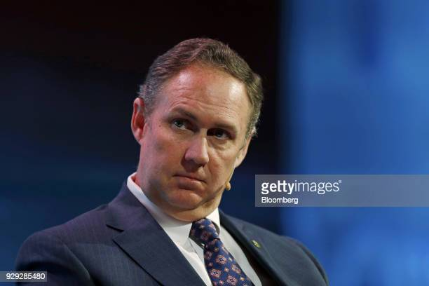 Robert Powelson nominee to be a member of the Federal Energy Regulatory Commission listens during the 2018 CERAWeek by IHS Markit conference in...