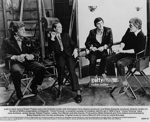 Robert Preston Julie Andrews producer Tony Adams and writer/producer/director Blake Edwards talk behind the scenes for the MGM movie 'Victor...