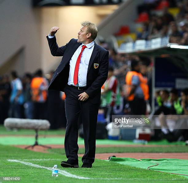 Robert Prosinecki, coach of Kayserispor gestures during the Turkish Super League match between Kayserispor and Besiktas JK held on May 19, 2013 at...