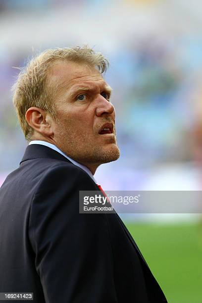 Robert Prosinecki, coach of Kayserispor looks on during the Turkish Super League match between Kayserispor and Besiktas JK held on May 19, 2013 at...