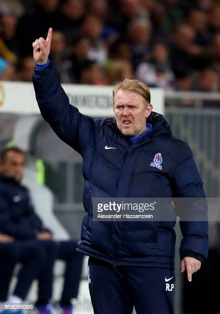 Robert Prosinecki, head coach of Azerbaijan reacts during the FIFA 2018 World Cup Qualifier between Germany and Azerbaijan at Fritz-Walter-Stadion on...