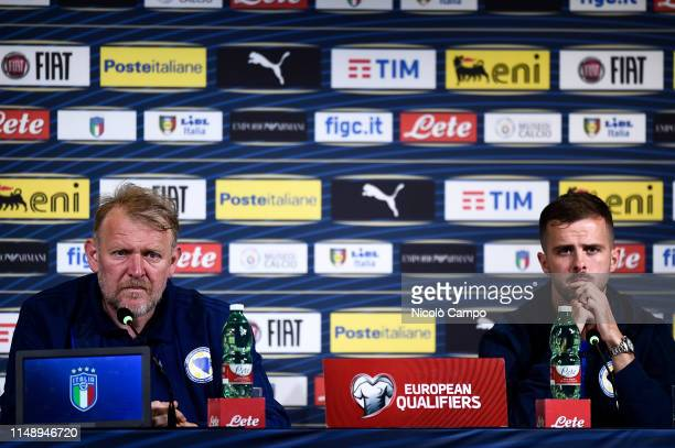 Robert Prosinecki , head coach of Bosnia and Herzegovina, and Miralem Pjanic hold a press conference on the eve of the UEFA Euro 2020 Qualifier...