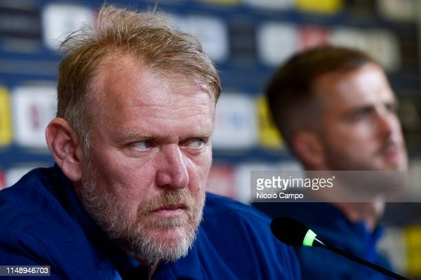 Robert Prosinecki, head coach of Bosnia and Herzegovina, looks on during a press conference on the eve of the UEFA Euro 2020 Qualifier football match...