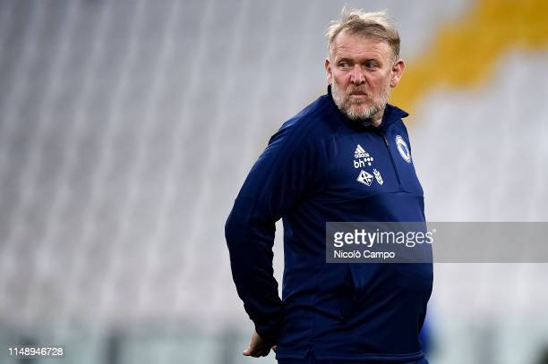 Robert Prosinecki looks on during a Bosnia and Herzegovina training session on the eve of the UEFA Euro 2020 Qualifier football match between Italy...