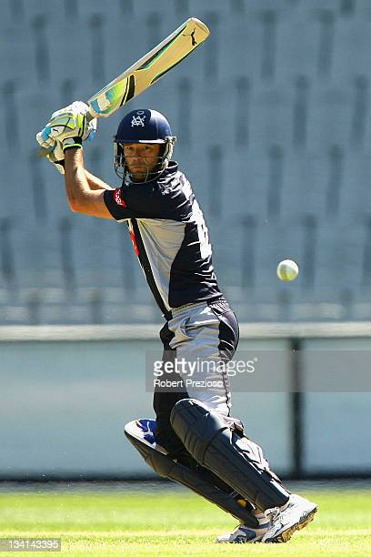 Robert Quiney of the Bushrangers plays a shot during the Ryobi One Day Cup match between the Victoria Bushrangers and the Tasmania Tigers at...