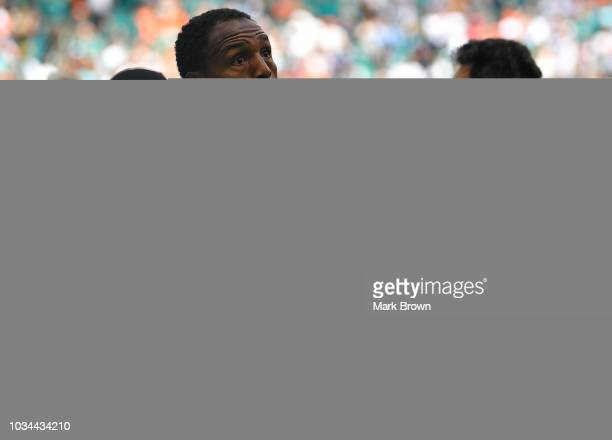 Robert Quinn of the Miami Dolphins before the game against the Tennessee Titans at Hard Rock Stadium on September 9 2018 in Miami Florida