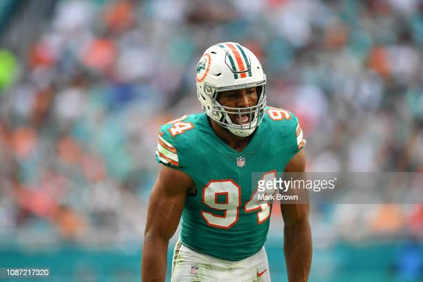 Robert Quinn of the Miami Dolphins in action against the Jacksonville Jaguars at Hard Rock Stadium on December 23 2018 in Miami Florida