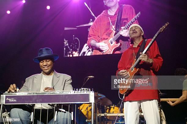 Robert Randolph and Carlos Santana during Santana Celebrates The Launch of New CD All That I Am at the Hammerstein Ballroom in New York City at...