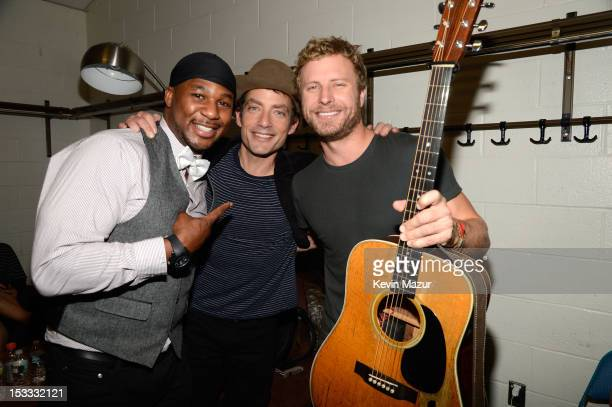 Robert Randolph Jakob Dylan and Dierks Bentley backstage at the Love For Levon Benefit To Save The Barn at Izod Center on October 3 2012 in East...