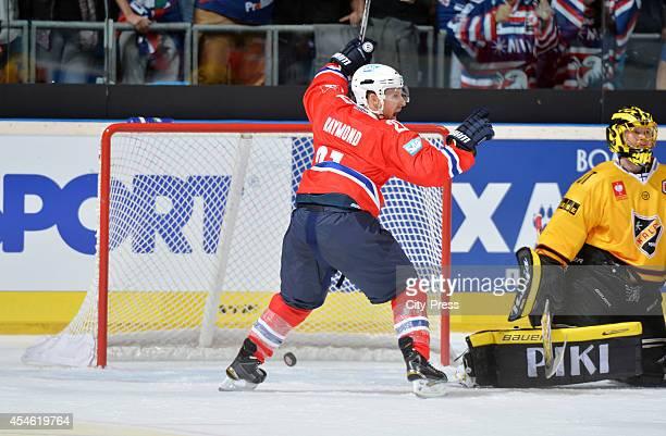Robert Raymond of Adler Mannheim celebrates after scoring the 1:0 during the Champions Hockey League game between Adler Mannheim and KalPa Kuopio on...
