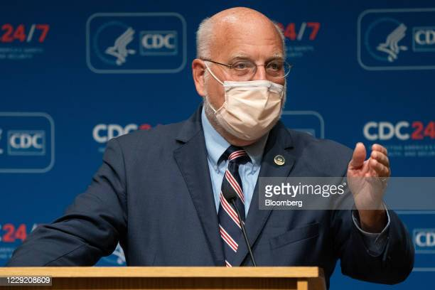 Robert Redfield, director of the Centers for Disease Control and Prevention , speaks during a news conference at the CDC Roybal Campus in Atlanta,...