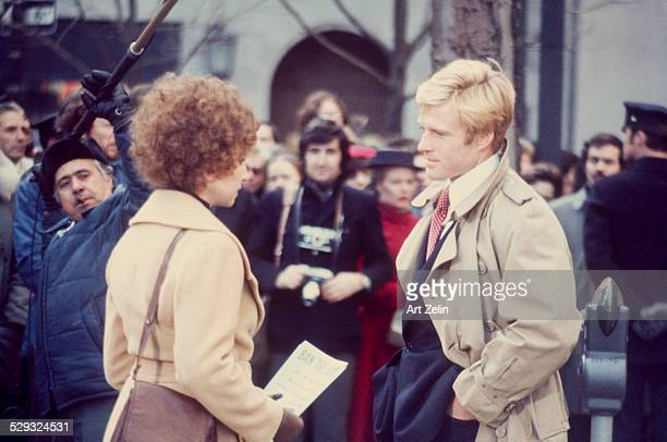 Robert Redford and Barbra Streisand filming 'The Way We Were' circa 1970 New York