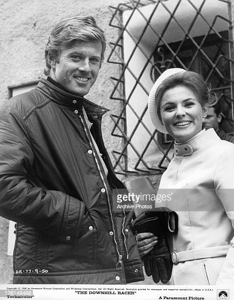 Robert Redford and Camilla Sparv are smiling in a scene from the film 'The Downhill Racer' 1969
