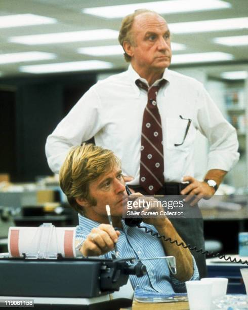 Robert Redford and Jack Warden in a still from the film 'All the President's Men' USA circa 1976 The film adaped from the book by Carl Bernstein and...