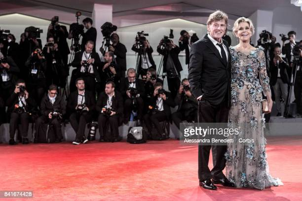 Robert Redford and Jane Fonda walk the red carpet ahead of the 'Lean On Pete' screening during the 74th Venice Film Festival at Sala Grande on...