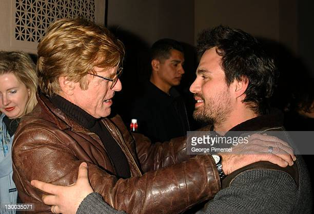 Robert Redford and Mark Ruffalo greet each other before a screening of XX/XY at the Library at the 2002 Sundance Film Festival in Park City Utah...