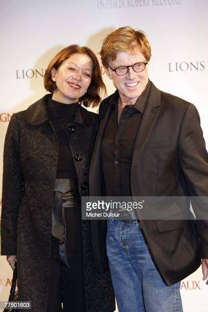 Robert Redford and Sibylle Szaggars attend the premiere of ''Lions For Lambs'' on October 25 2007 in Paris France
