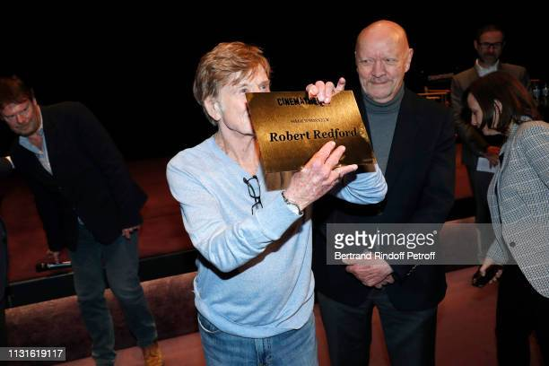 Robert Redford and Vice-president of Cinematheque Jean-Paul Rappeneau attend Robert Redford receiving a seat of honor during he gives a Master Class...