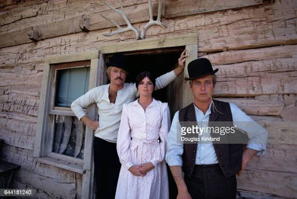 Robert Redford as the Sundance Kid, Katharine Ross as Etta Place, and Paul Newman as Butch Cassidy during the filming of Butch Cassidy and the...