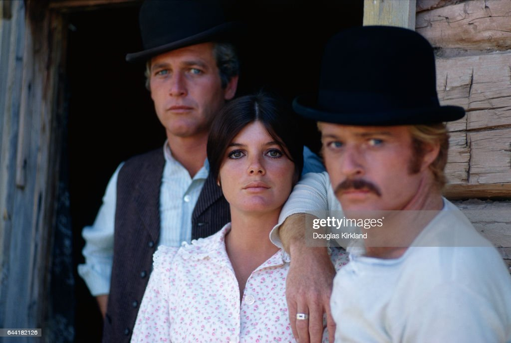 Robert Redford (right) as the Sundance Kid, Katharine Ross as Etta Place, and Paul Newman as Butch Cassidy during the filming of Butch Cassidy and the Sundance Kid in Utah.