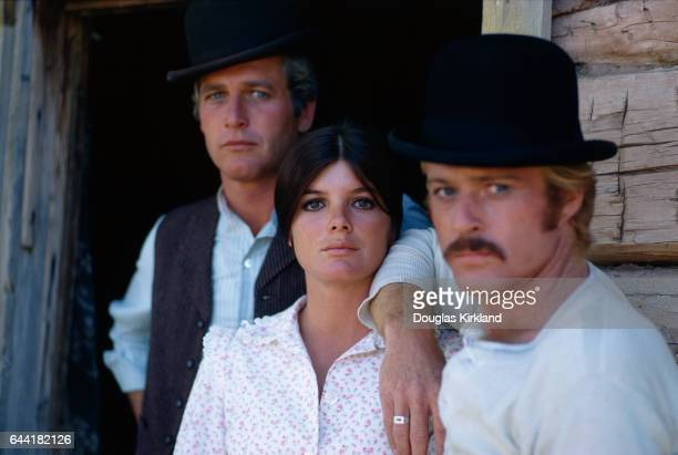 Robert Redford as the Sundance Kid Katharine Ross as Etta Place and Paul Newman as Butch Cassidy during the filming of Butch Cassidy and the Sundance...