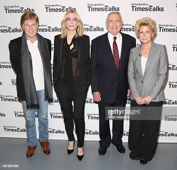 Robert Redford Cate Blanchett Dan Rather and Mary Mapes attend TimesTalks Presents Cate Blanchett Robert Redford Mary Mapes And Dan Rather In...