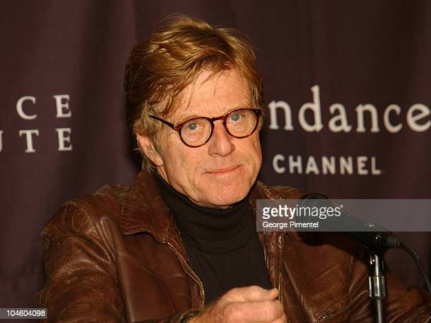 Robert Redford during 2002 Sundance Film Festival Sundance Channel Press Conference at The Yarreow Hotel in Park City Utah United States