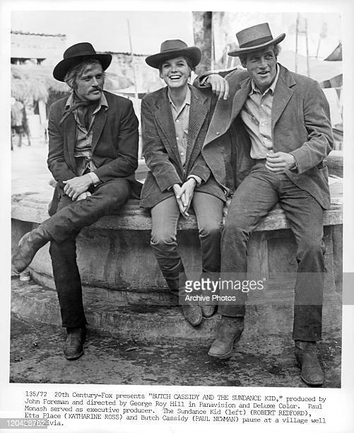 Robert Redford Katharine Ross and Paul Newman sitting in a scene from the film 'Butch Cassidy And The Sundance Kid' 1969