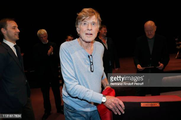 Robert Redford receiving a seat of honor during he gives a Master Class at Cinematheque Francaise on February 21, 2019 in Paris, France.