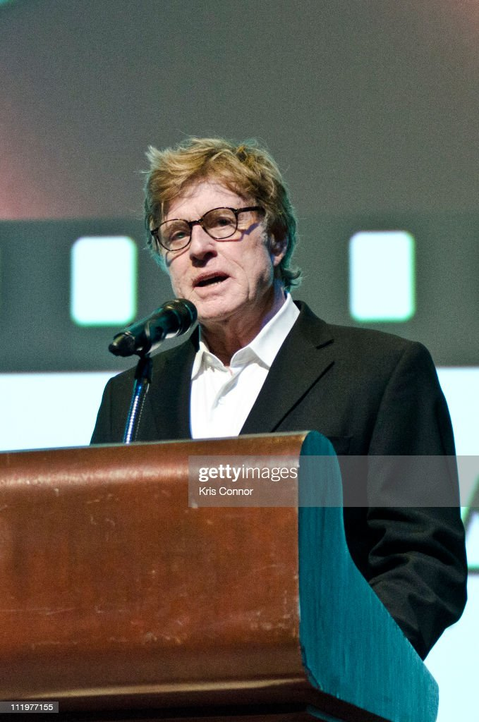 Robert Redford speaks during the premiere of 'The Conspirator' presented by The American Film Company, Ford's Theatre and Roadside Attractions at Ford's Theatre on April 10, 2011 in Washington, DC.