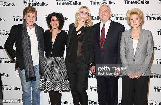 Robert Redford, Susan Dominus, Cate Blanchett, Dan Rather and Mary Mapes attend TimesTalks Presents Cate Blanchett, Robert Redford, Mary Mapes And...