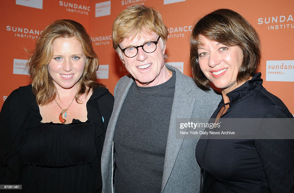robert redford with his girlfriend bylle szaggars and