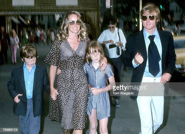 Robert Redford with his wife Lola son Jamie and daughter Shauna