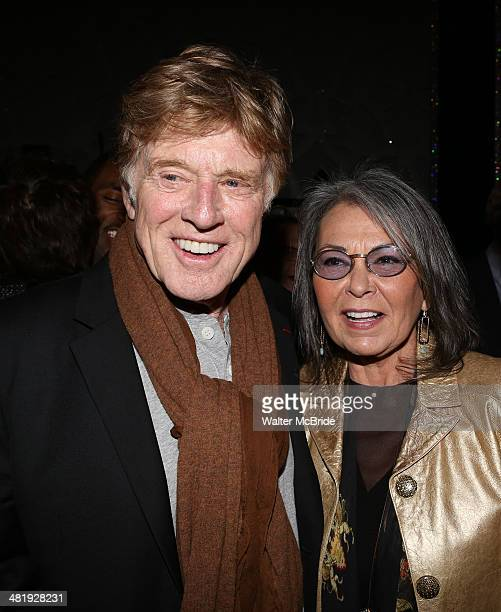 Robert Redford with Roseanne Barr backstage after seeing the Broadway musical 'After Midnight' at The Brooks Atkinson Theatre on April 1 2014 in New...