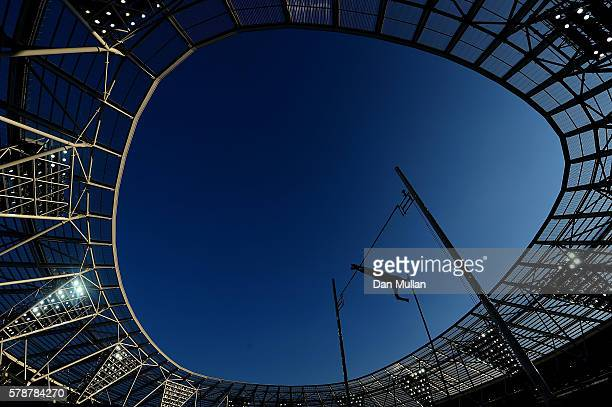 Robert Renner of Slovenia in action during the final of the mens pole vault on Day One of the Muller Anniversary Games at The Stadium Queen Elizabeth...