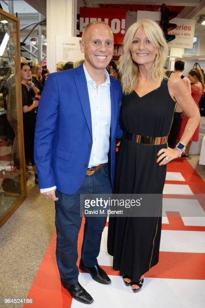 Robert Rinder aka Judge Rinder and Gaby Roslin attend Hello Magazine's 30th anniversary party at Dover Street Market on May 9 2018 in London England