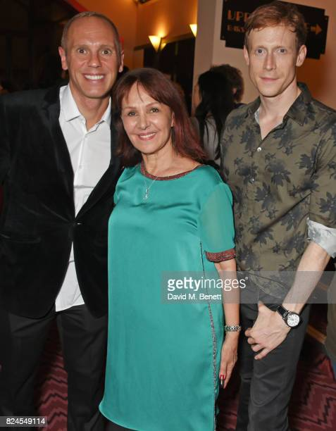 Robert Rinder director Arlene Phillips and Edward Watson attend a drinks reception celebrating 'Gala For Grenfell' a special gala bringing together a...