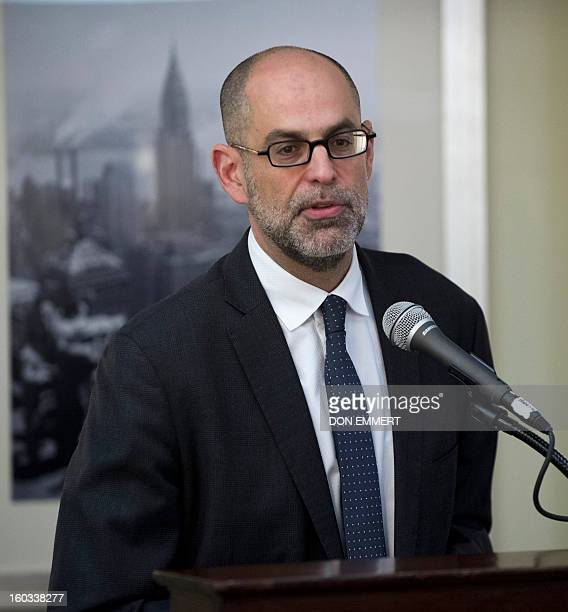 Robert Roben executive director of American Task Force Argentina answers questions from the media during a news conference by Argentine pensioners...