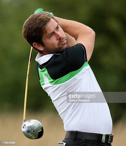 Robert Rock of England hits his teeshot on the second hole during the first round of the ISPS Handa Wales Open on the Twenty Ten course at The Celtic...